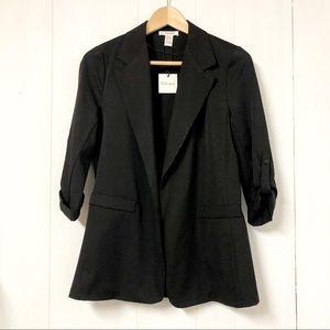 Revamped Roll Cuff Black Blazer NWT